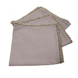 Lot de 3 serviettes de table coton taupe et finition dentelle 40x40cm