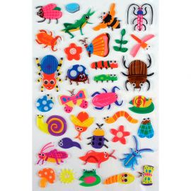 Lot de 34 stickers translucides insectes