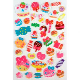 Lot de 38 stickers translucides pâtisseries
