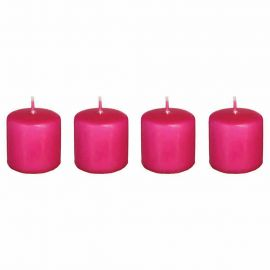 Lot de 4 bougies fuchsia 3.8x3.8x4cm