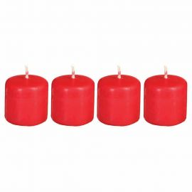 Lot de 4 bougies rouges 3.8x3.8 x4cm