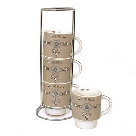Lot de 4 mugs 200ml et support DAKOTA
