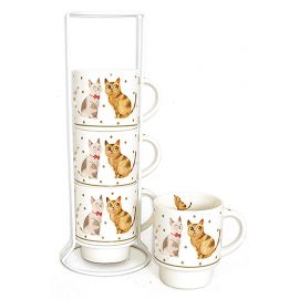 Lot de 4 mugs sur colonne chat 7x7x27cm