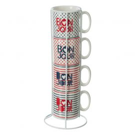 Lot de 4 mugs sur rack 24cl