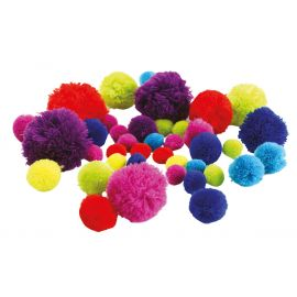 Lot de 45 pompons multicolores