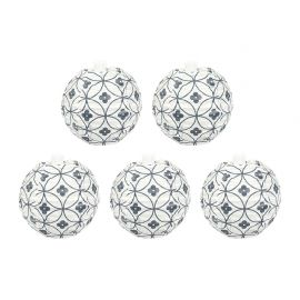 Lot de 5 mini boules JAPON rosaces grises D 7cm