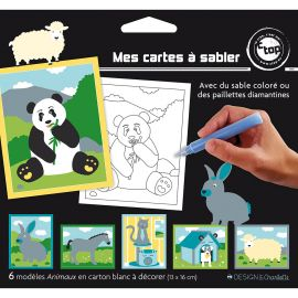 Lot de 6 cartes à sabler Animaux 13x16cm