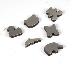Lot de 6 magnets inox animaux 2.5cm