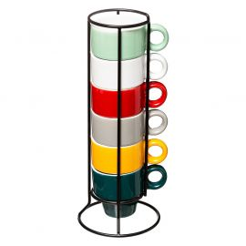 Lot de 6 tasses à expresso multicolores et rack métal