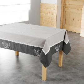 Nappe carrée polyester avec broderie taupe et anthracite 85x85cm