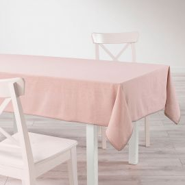 Nappe rectangulaire coton finition dentelle rose dragée 140x240cm