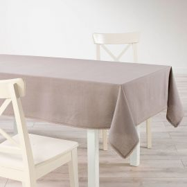 Nappe rectangulaire coton finition dentelle taupe 140x240cm