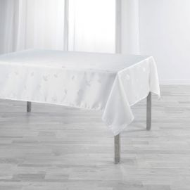Nappe rectangulaire JACQUARD polyester blanc 140x250cm