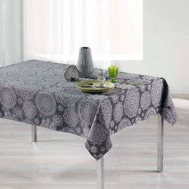 Nappe rectangulaire jacquard rose des vents anthracite 140x250cm