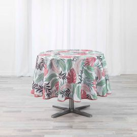 Nappe ronde JUNGLE polyester blanc rose D 180cm