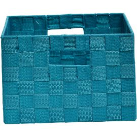 Panier polyester turquoise 24x16x34cm
