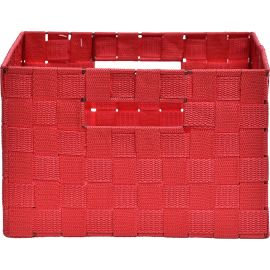 Panier rectangulaire polyester rouge 28x18x38cm