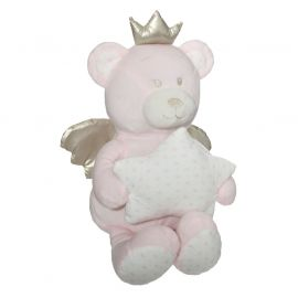 Peluche ourson polyester rose H 20cm