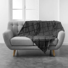 Plaid coton à carreaux style berbère anthracite 125x150cm