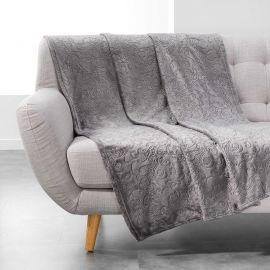 Plaid flanelle polyester BAROCO anthracite 125x150cm