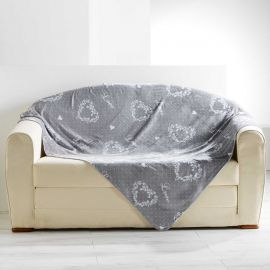 Plaid flanelle polyester HOME LOVE gris 125x150cm
