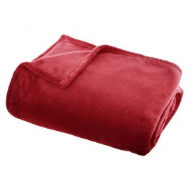 Plaid polyester flanelle rouge 130x180cm