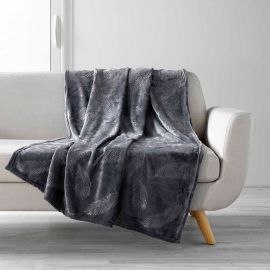 Plaid polyester motif plumes anthracite 125x150cm