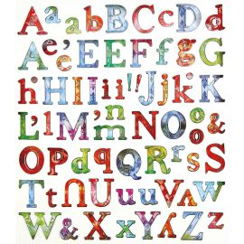 Planche de 71 stickers alphabet multicolores