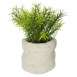 Plante artificielle et pot sac ciment H 14cm