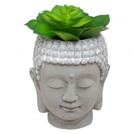 Plante artificielle pot ciment bouddha 8x9.5cm