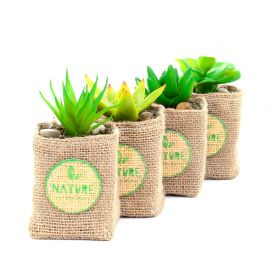 Plante artificielle pot jute H 12.5cm