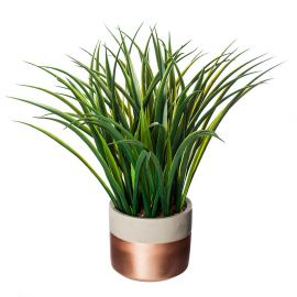 Plante verte artificielle en pot rose gold et ciment H 40cm