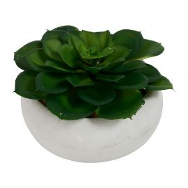 Plante verte artificielle pot ciment  H 10cm