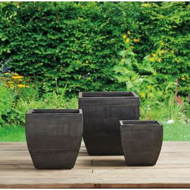 Pot carré évasé anthracite 26.5x26.5cm