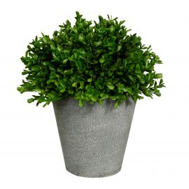 Pot en ciment buis vert artificiel 12x21cm