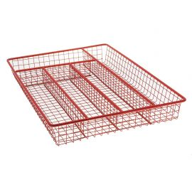 Range-couverts métal 5 cases rouge 26x36x5cm