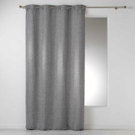Rideau à œillets polyester chambray anthracite 140x260cm