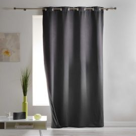 Rideau occultant isolant à œillets ronds polyester anthracite 140x260cm