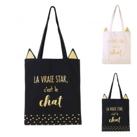 Sac tote bag imprimé chat 36x48cm