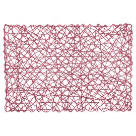 Set de table ajouré rectangulaire naturel rouge 30x45cm