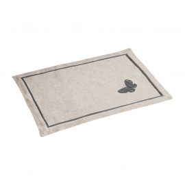 Set de table polyester broderie papillon grise 33x45cm