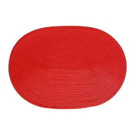 Set de table tressé ovale rouge 44.5x29.5cm