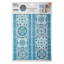 Sticker carrelage frise arabesque bleu 38.5x25.5cm