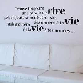 Sticker citation rire et vie 50x70cm