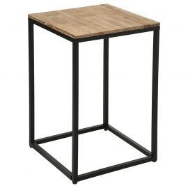 Table d'appoint industrielle EDENA bois et métal 42 x H 65cm - ATMOSPHERA