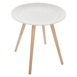 Table d'appoint MILEO blanche D 49.5x43cm