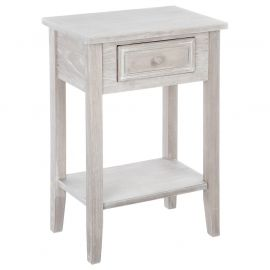 Table de chevet CHARME 1 tiroir bois cérusé blanchi 45x67x30cm - ATMOSPHERA