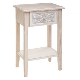 Table de chevet effet cérusé HINA 1 tiroir 45x67x30cm - ATMOSPHERA