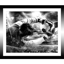 Tableau photo noir et blanc football 30x25cm