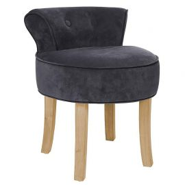 tabouret firmin velours assise ronde et dossier bleu pieds bois baroque chic 46x49x58cm. Black Bedroom Furniture Sets. Home Design Ideas